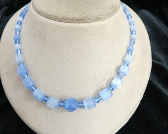 Vintage Graduated baby Blue Glass Necklace
