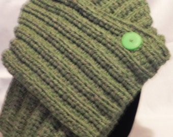 Chunky Green Tweed Ribbed Cowl Neckwarmer