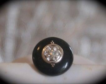 Vintage Button on Adjustable Ring Base