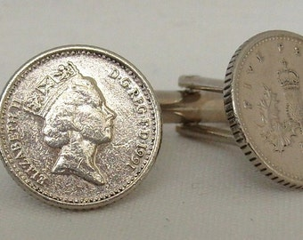 Boxed Pair Vintage British 1991 Five Pence Penny Coin Cufflinks Wedding Birthday Anniversary