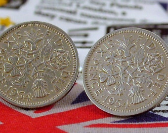 Boxed Pair Vintage British 1954 Lucky Sixpence Six Penny Coin Cufflinks Wedding 63rd Birthday Anniversary