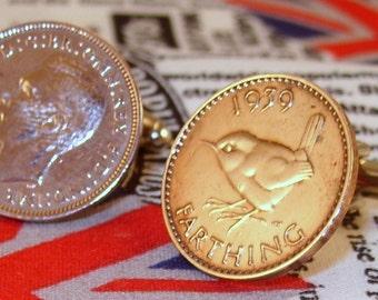 Boxed Pair Vintage British 1939 Farthing Coin Cufflinks Wedding 78th Birthday