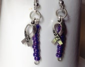 Purple Awareness Ribbon Charm Earrings-Epilepsy-Alzheimer-cystic Fibrosis-Cancers-Domestic Violence