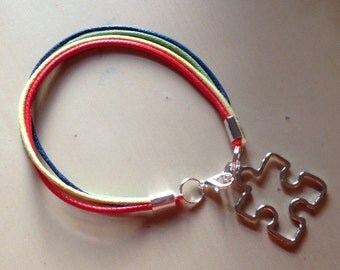Autism Awareness Bracelet-Puzzle Piece-Aspergers Syndrome-Cotton-4 Muli-Colored-Black-Red-Yellow-Blue-Green-Gray-White