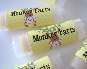 Monkey Farts - Vegan Lip Balm - Natural Lip Butter - Bath and Beauty - Fruit Flavor - Strawberry Banana  Bubblegum -Original