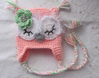 Newborn (Infant),3-6 Months,6-12 Months,1-2 Year Baby Owl Hat ( Made to Order) Pink Owl Hat, Croched Owl Hat, Baby Gift,