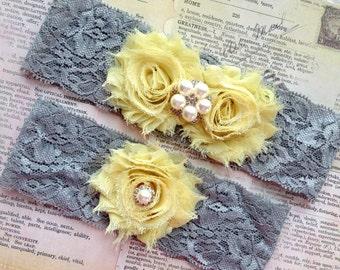 Bridal Garter, Bridal Garter Set, Gray Wedding Garter, Yellow and Gray Garter, Lace Wedding Garter, Wedding Garter Set, Gray Garter Set