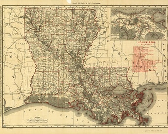1896 State of Louisiana-Map Print