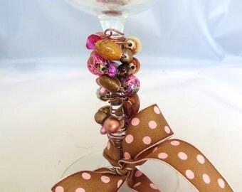 Pink Beaded Wine Glass with Polka Dot Ribbon, Beaded Wine Glass, Stemware, Barware, Hostess Gift,Housewarming Gift,Wine Accessory,Wine Glass