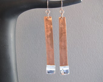 Copper and Crystal Long Earrings ( SALE item, all sales final)
