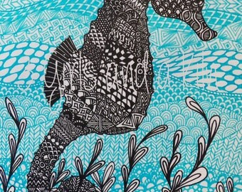 Cayman Seahorse Zentangle Drawing, 11x14 print