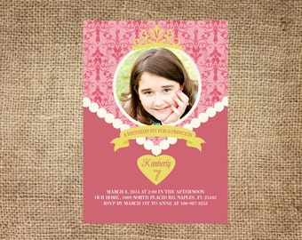 Princess Birthday Party Invitation, pink necklace, personalized and printable