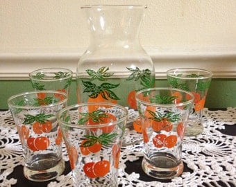 Vintage juice carafe and glasses