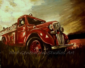MADE TO ORDER 16x20 antique fire truck painting