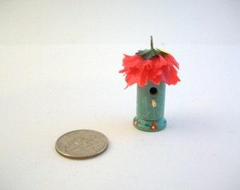 Miniature Birdhouse, Miniature Bird Feeder, Dollhouse Birdhouse, Dollhouse Bird Feeder, Painted Bird Feeder, Tiny Bird Feeder, Floral Feeder