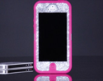 Otterbox Case for iPhone 5 Custom Glitter Silver Sparkly iPhone 5 Otterbox Defender Case
