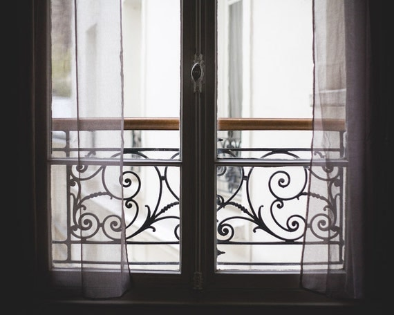 Items similar to paris photography scrolled iron balcony for Balcony wall decoration
