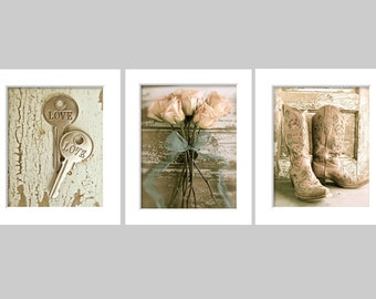 Country Western Art, Cowgirl Wall Art Gallery, Rustic Decor Prints, Love Art, Boot Art, Feminine Girls Room Art, Shabby Romantic Art Gallery