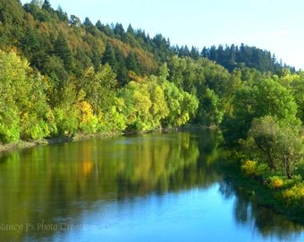 Lake River,  Nature Photography,  Panoramic Photo, Landscape Photography, Blue Sky Fine Art Print, Green Wall Art, Trees, Forest Serene fPOE
