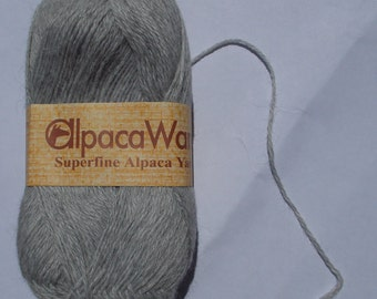 Alpaca Ware Superfine Alpaca Yarn, Gray, 50 grams, super soft