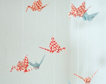 Mobile with Cranes made of japanese paper bright-blue/red
