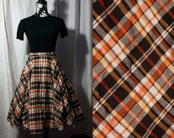 1950s Vintage Style Circle Skirt With Orange White and Black Print