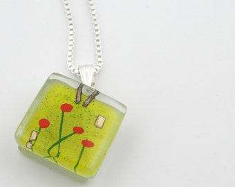 Fused Glass Charm: Amidst Poppies Charm
