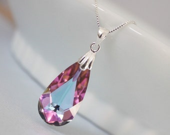 Swarovski Vitrail Light Faceted Briolette Necklace, Sterling Silver Necklace