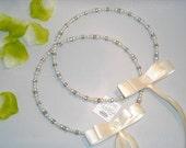 Stefana Silver Plated Ivory Greek Wedding Crowns Stefana / Stephana with rhinestones and pearls