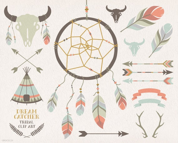 Dream catcher teepee feathers crossed arrows tribal