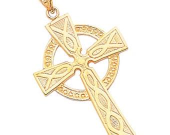 14k Solid Yellow Gold Celtic Cross Pendant, Celtic Cross, 14k Yellow Gold, Solid Gold, Religious, Irish, Cross, Celtic