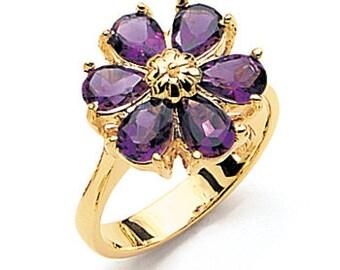 14K Yellow Gold Amethyst Flower Ring, Flower Ring, Amethyst Ring, Floral Jewelry, Amethyst Jewelry, Fancy Jewelry, Flower Jewelry