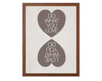 Do What You Love Poster : Heart Modern Illustration Retro Art Wall Decor Digital Print 8 x 10