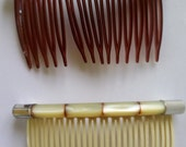 Vintage Hair Combs x2 Plastic Lightweight Faux Shell Bars Made in USA