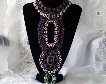 Statement Crystal beaded Neck Piece, Bib Beaded Purple lace, Haute couture Accessory
