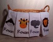 Custom Safari Animal Burp Cloth Set of 4 with Embroidered Name