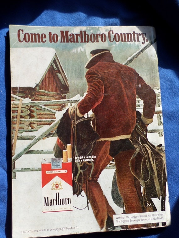Christmas issue, vintageOUI magazine 1972,   with full back cover Marlboro man in snow, adult male