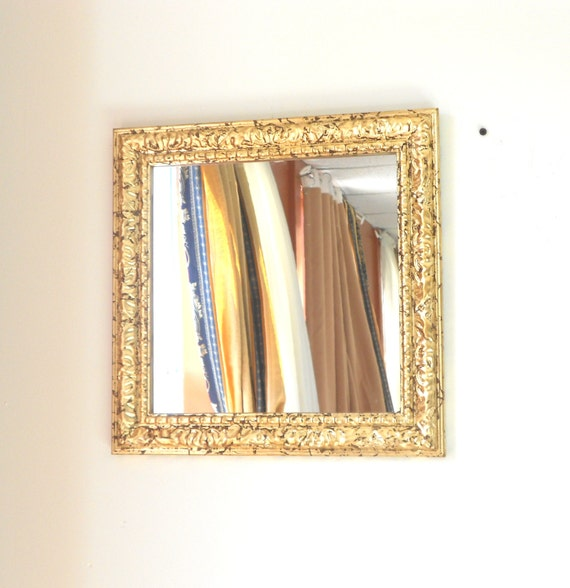 Gold Square Wall Decor : Home interiordecorative wall mirrordistressed by goldleafgirl
