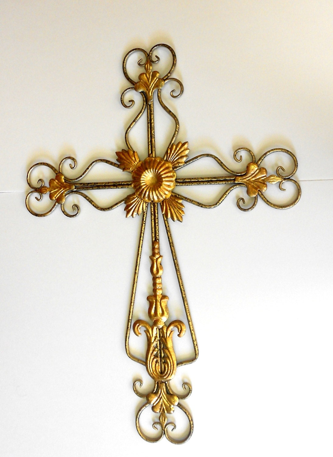 Large Gold Cream Full Face Adult Carnival Stick Mask: Home InteriorTall Unique Large Metal Wall Gold Cross