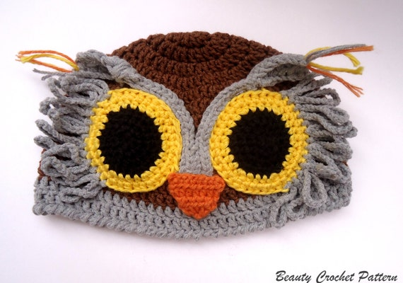 Crochet Owl Hat Pattern, Crochet Baby Owl Hat Pattern, Crochet Child ...