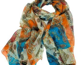 Orange Silk Chiffon Scarf with Ancient Style Print - Blue & Orange Silk Scarf - AS232