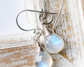 Moonstone Earrings, Sterling Silver Earrings, Gemstone Earrings, Wire Wrapped Gemstone Earrings, Drop Earrings, Artisan Gemstone Earrings