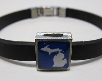 Michigan Link With Choice Of Colored Band Charm Bracelet