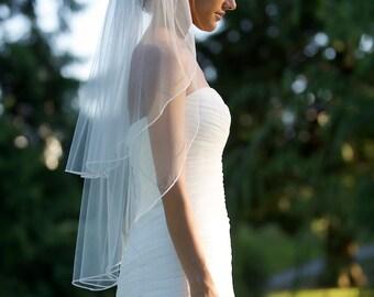 "Fingertip veil with blusher, double-tier 1/8"" soutache braid trim, Swarovski pearls & crystals along trim, Bridal veil, bridal accessories."