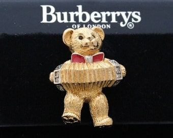Burberrys of London Pin Brooch Gold-tone Bear with Accordion