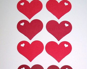 "Red   Heart in heart Paper die cuts /  card-stock paper/ size 2"" x 1.5"""