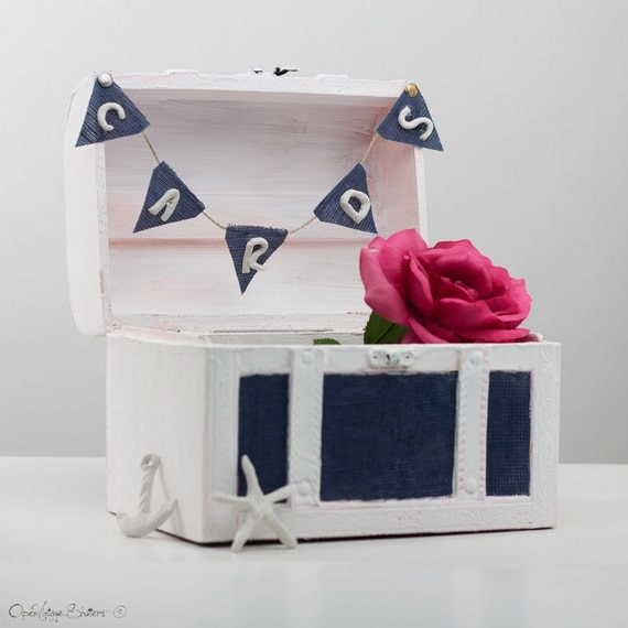 Metal Decorative Wedding Gift Card Holder Box : Beach Wedding Chest Gift Card box HolderNautical Keepsake box ...