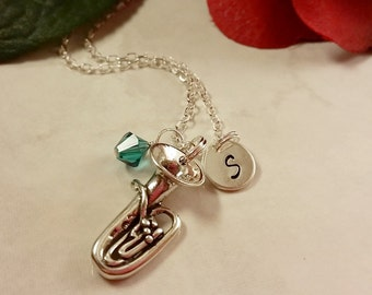 Sterling Silver Tuba Charm Necklace, Hand Stamped Initial Disk, Birthstone Necklace