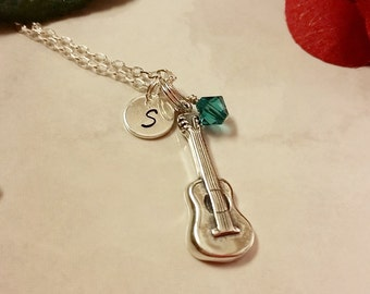 Sterling Silver Guitar Charm Necklace, Personalized with your Initial and Swarovski Birthstone Element