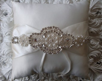 Ring Bearer Pillow - Rhinestone Ring Bearer Pillow - Wedding Pillow - Satin Ring Bearer Pillow
